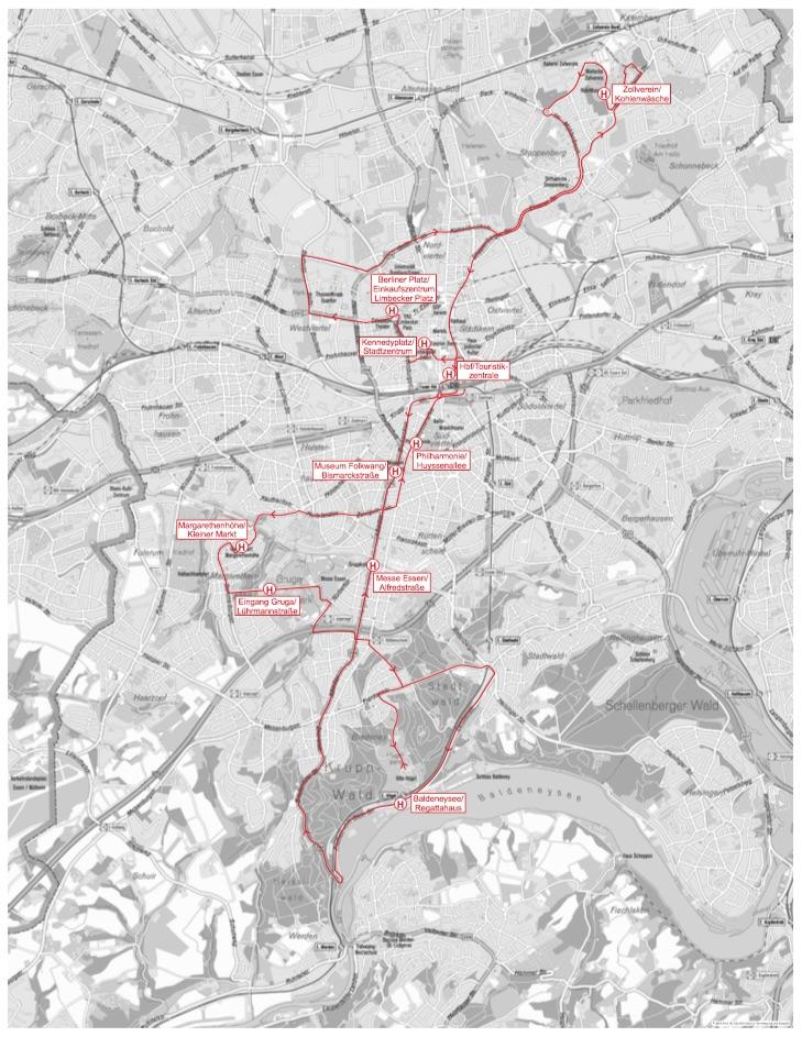 Bild der Strecken die der Stadtrundfahrten Bus zurück legt. Im Süden und Norden von Essen.