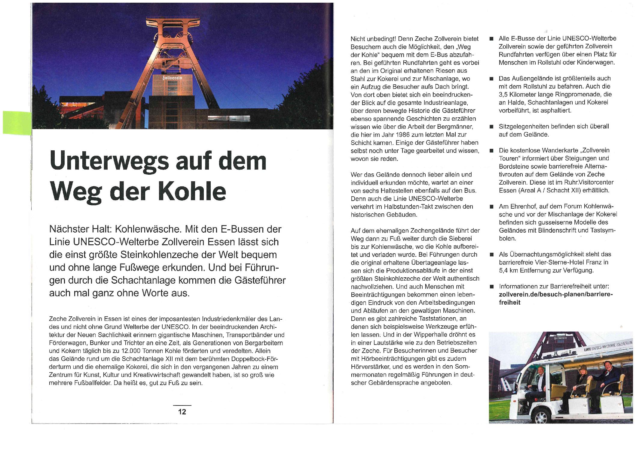 Artikel über die Zeche Zollverein und den Linienfahrten